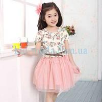 Платье с цветочным принтом и фатиновой юбкой