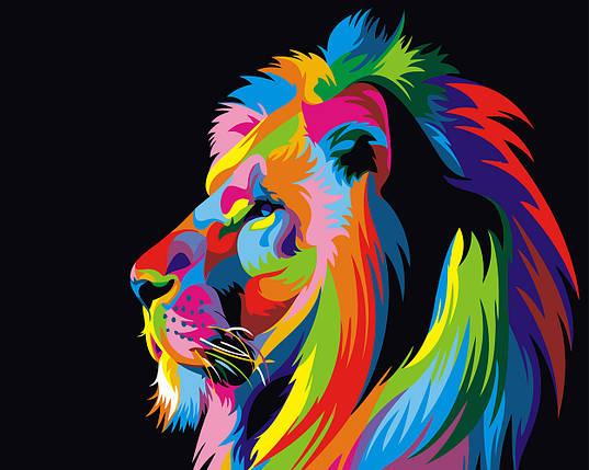 """Картина по номерам """"Цветной лев"""", фото 2"""