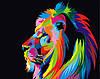 """Картина по номерам """"Цветной лев"""""""