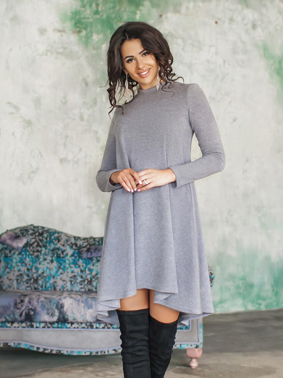 Теплое платье Герда светло-серое
