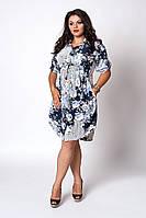 Платье мод №519-11, размер 48-50  крупные голубые цветы, фото 1