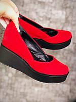 Замшевые туфли на невысокой танкетке 36-40 р красный, фото 1