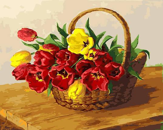 "Картина по номерам ""Корзинка тюльпанов"", фото 2"