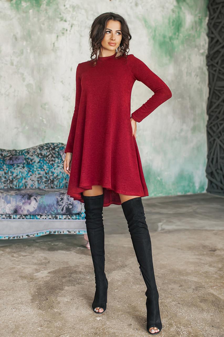 Теплое платье Герда бордовое