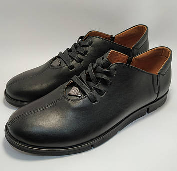 Мокасины на шнурке Prime черный кожа