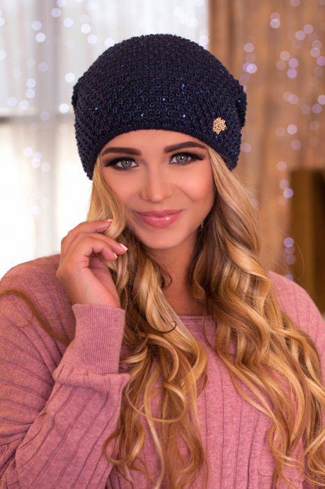 Зимняя женская Шапка-колпак «Дуглас» Джинсовый