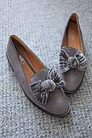Женские туфли серые замшевые с бантом классический стиль дрескод