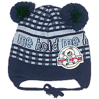 Детская вязаная шапочка р. 46-48 двойная мелкая вязка весенняя осенняя на завязках для мальчика 2698 Синий 46А