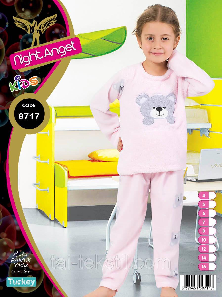 Пижама детская махра+флис и повязка для сна 8-14 лет Night Angel № 9718