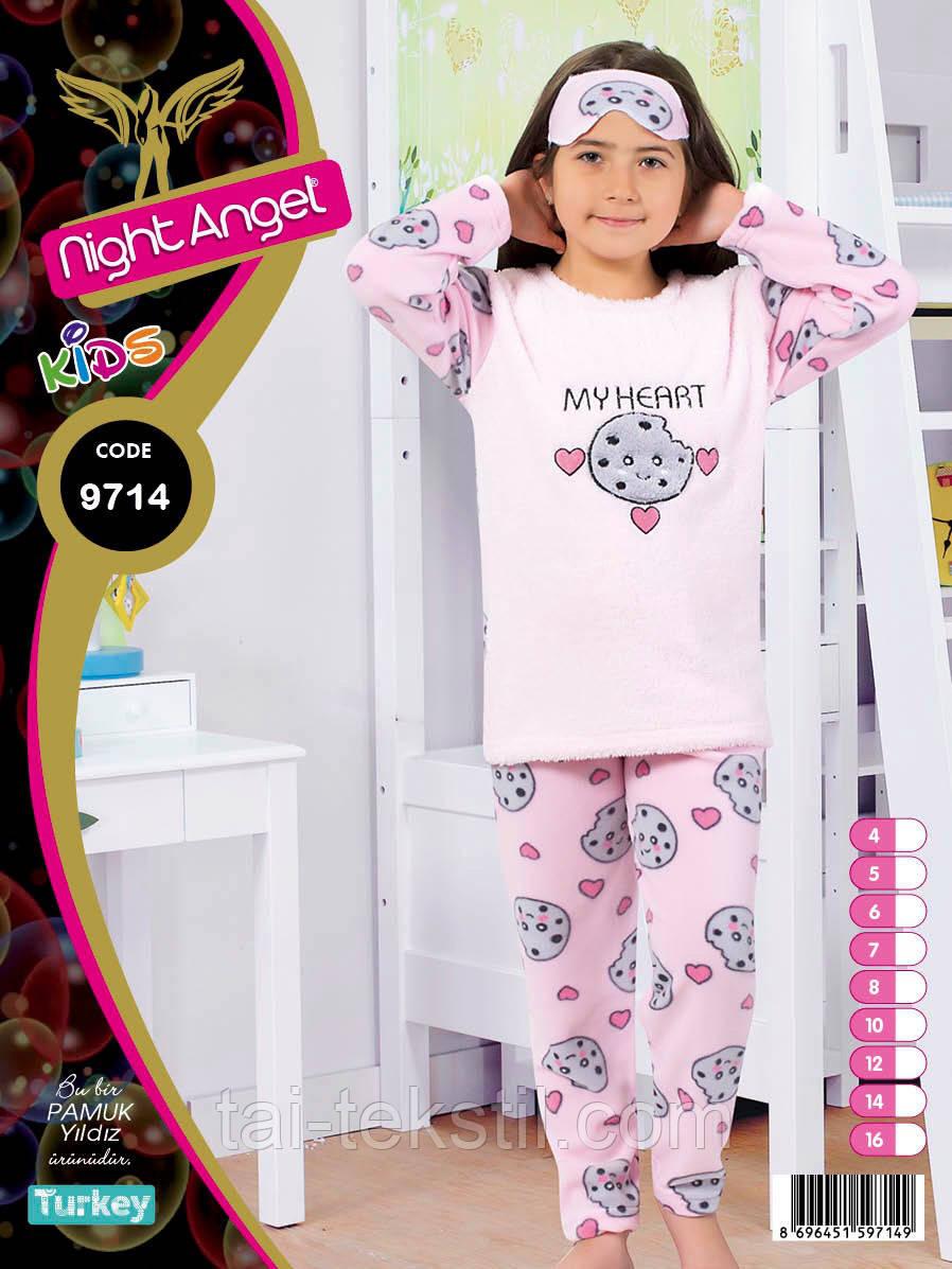 Пижама подросток махра+флис и повязка для сна 8-14 лет Night Angel № 9714