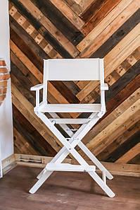 Стілець для візажиста дерев'яний білий, тканина біла(крісло візажиста)