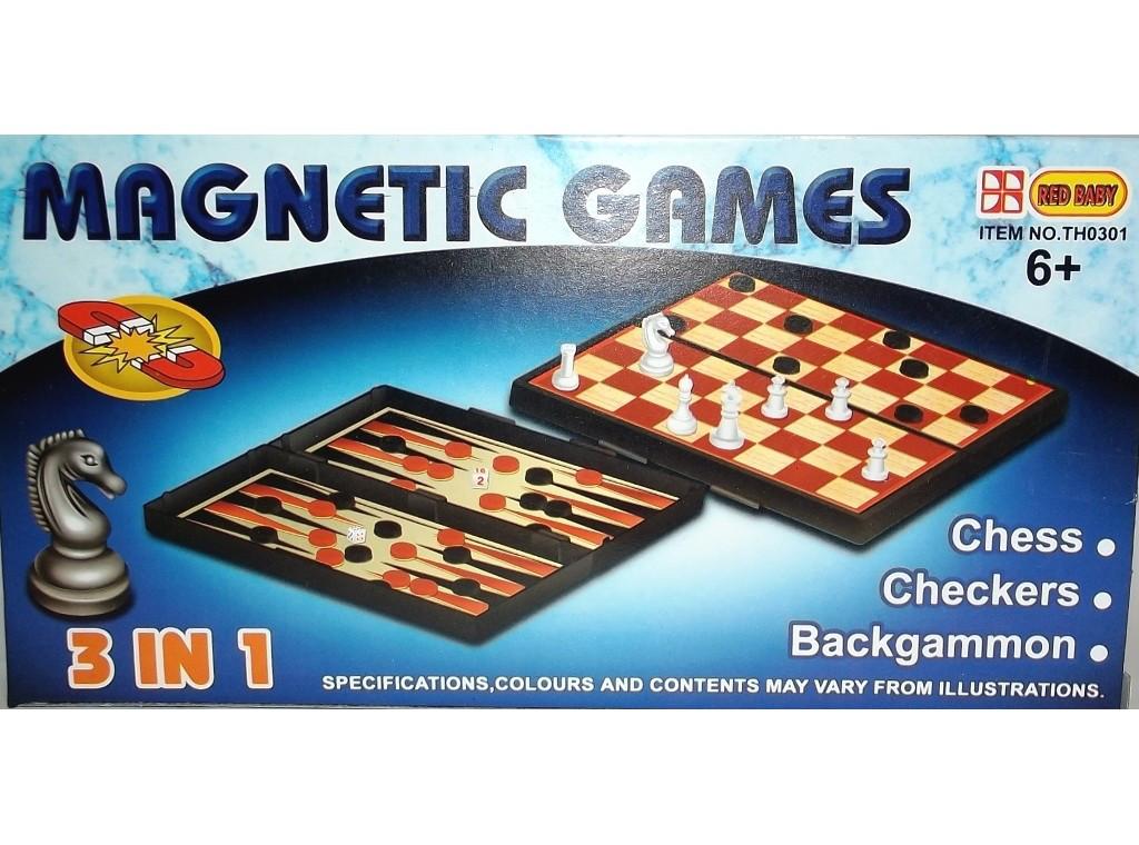 Набор 3-в-1: шахматы, шашки, нарды на магните