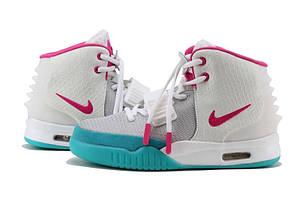 Кроссовки Nike Air Yeezy II женские белые с розовым