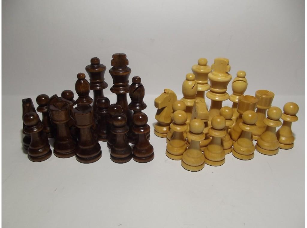 Комплект дерев'яних фігур для гри в шахи пішак 4,5 см, - король 9 см