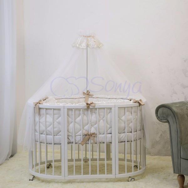 Детское постельное белье для овальной/круглой кроватки Маленькая Соня Ricci белый