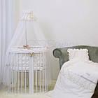 Детское постельное белье для овальной/круглой кроватки Маленькая Соня Ricci белый, фото 3