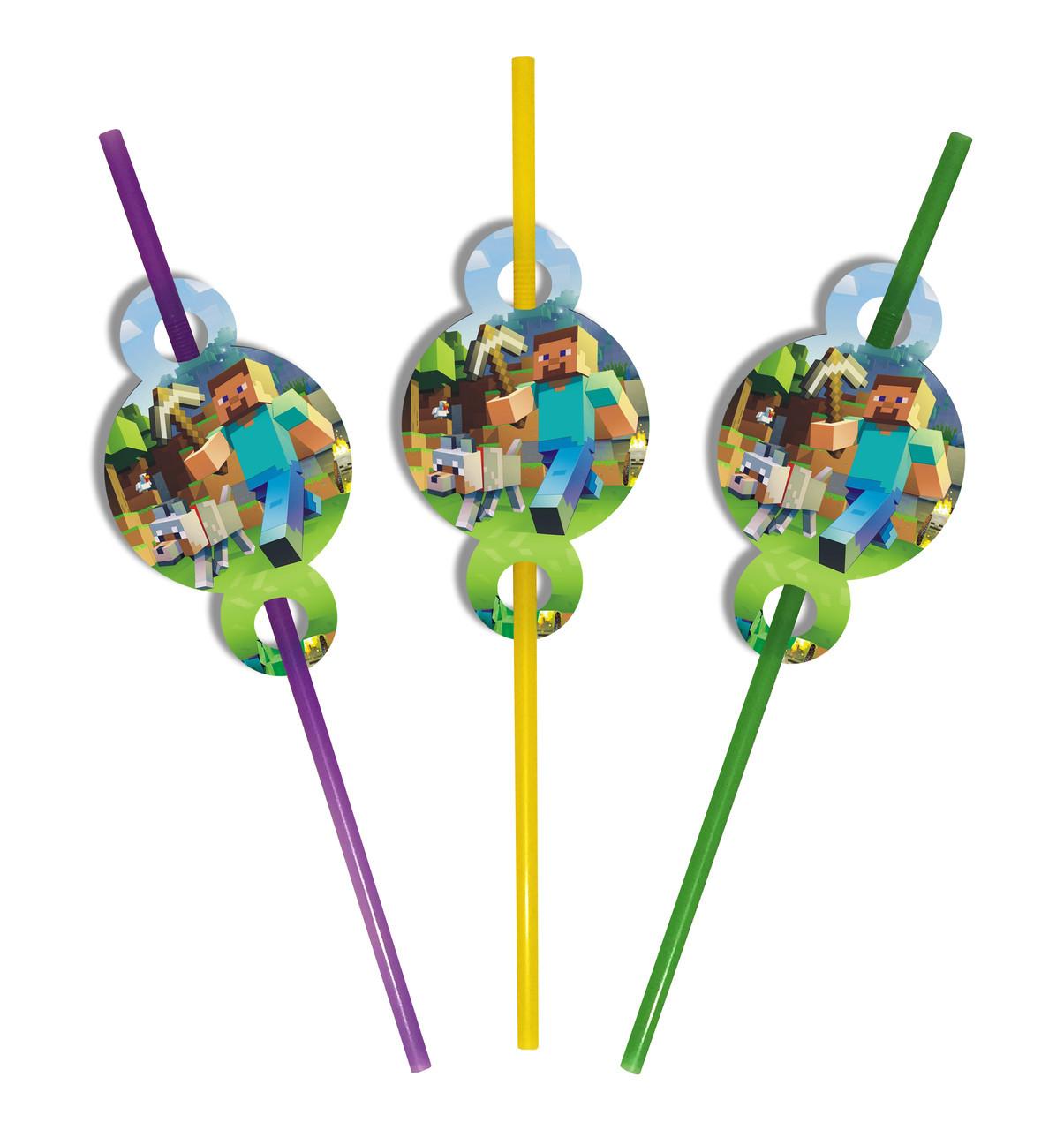 Трубочки для детского праздника в стиле Майнкрафт