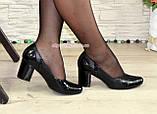 """Женские классические туфли на каблуке из натуральной кожи и лаковой кожи """"питон"""", фото 4"""