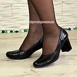 """Женские классические туфли на каблуке из натуральной кожи и лаковой кожи """"питон"""", фото 5"""