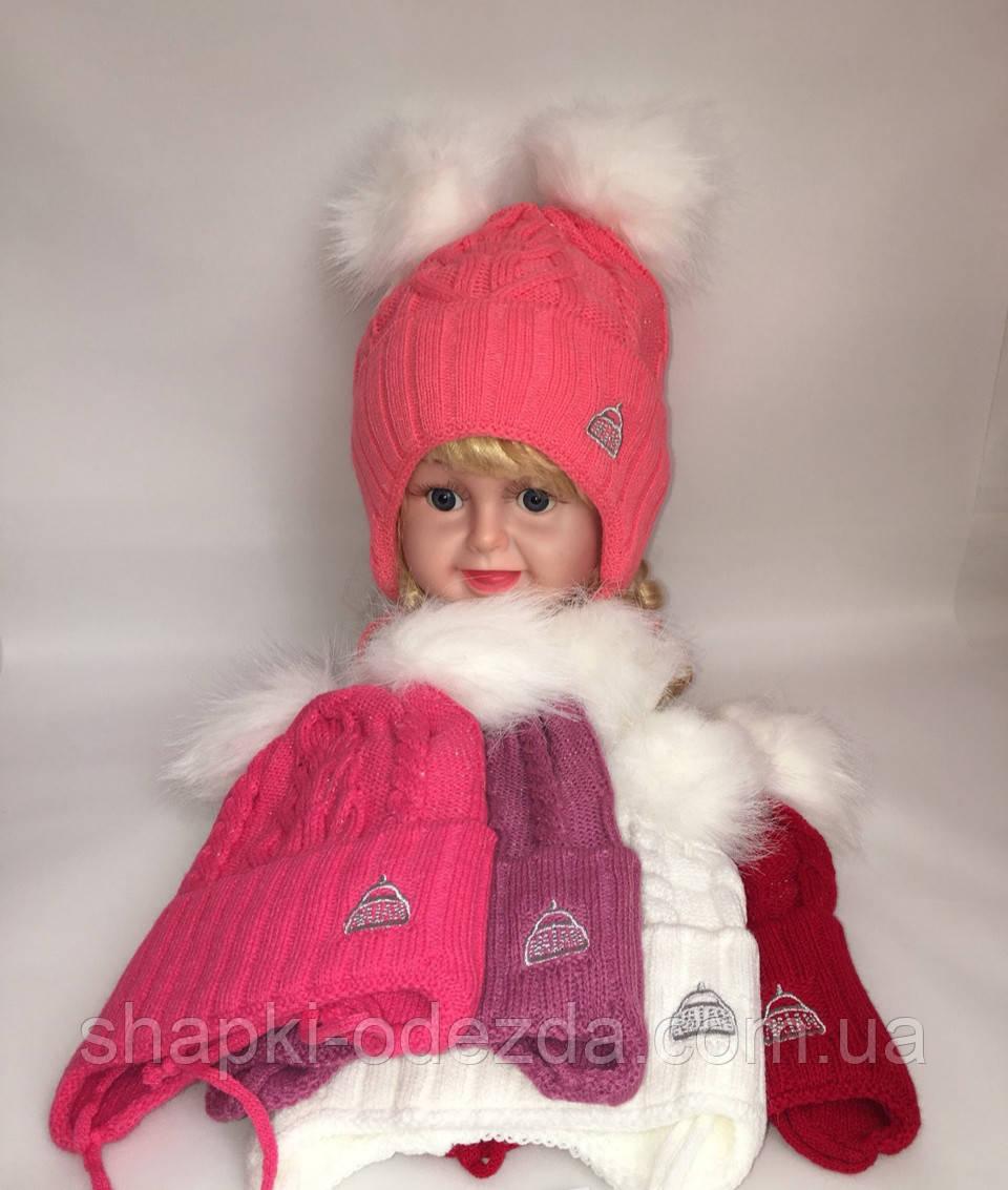 Шапка вязаная на флисе для девочки р 48-50 зима