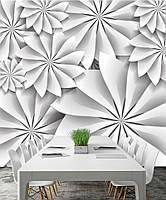"""3D фотообои """"Белые цветы с углами"""""""