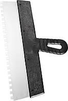 Шпатель  із нержавіючої сталі, 250 мм, зуб 8х8 мм, пластмасова ручка// СИБРТЕХ