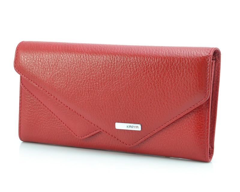 Стильный женский кошелек красного цвета Karya 1115-46 (Турция)