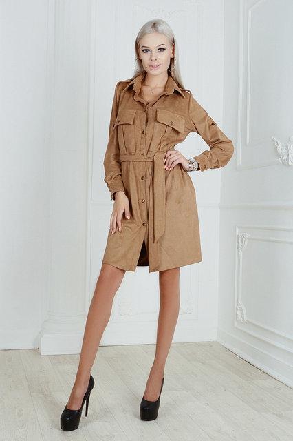 Платье-рубашка замшевое с поясом (К23877)