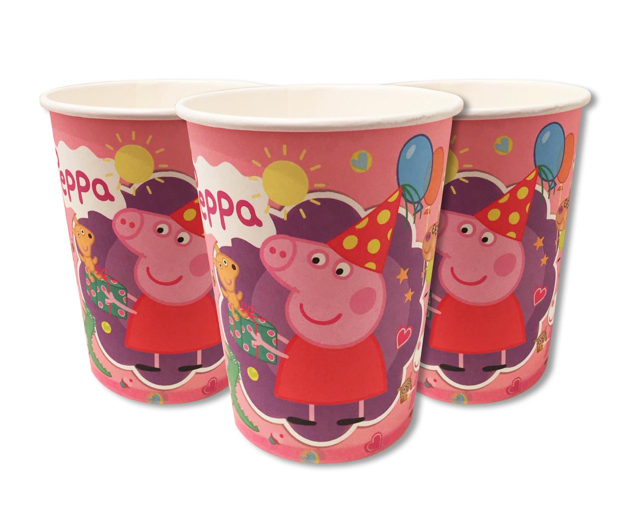 Бумажные стаканы в стиле свинка Пеппа