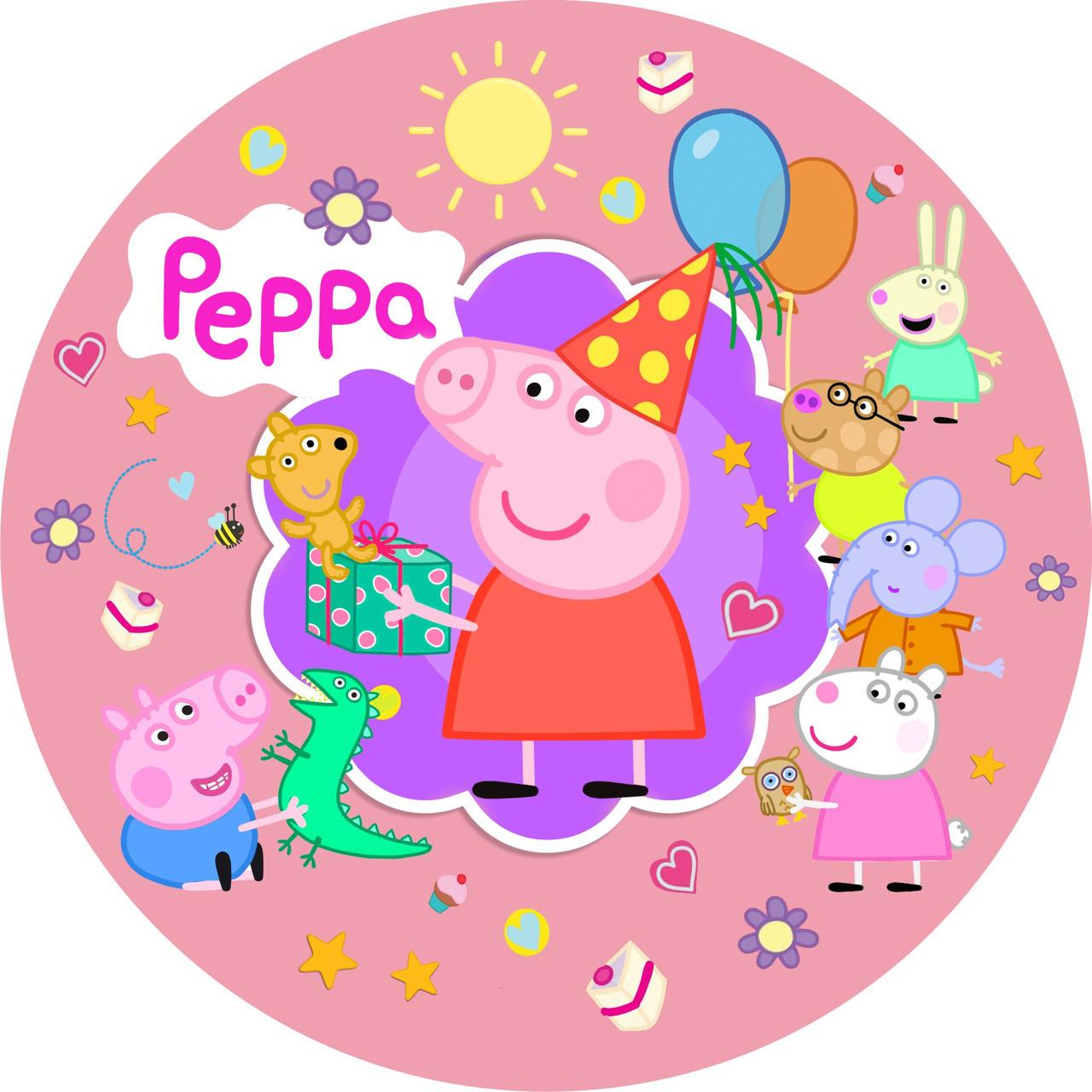 Бумажные тарелки в стиле свинка Пеппа