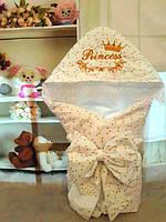 Конверт Одеяло для новорожденных на выписку с уголком и вышивкой осень/весна 78х78 см Принцесса