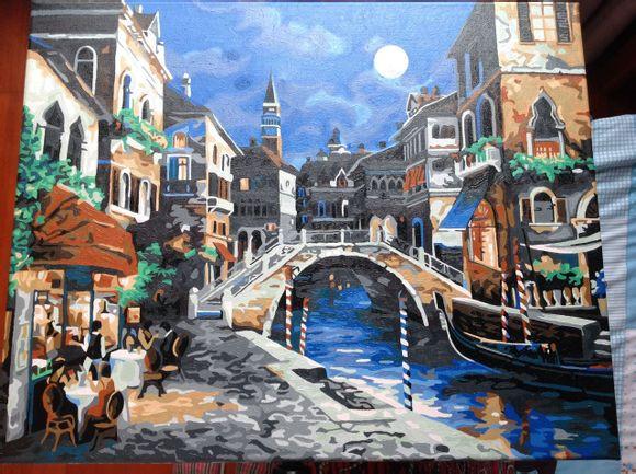 Картина по номерам Улицы ночной Венеции худ. Ли Джеймс (G350, VP241,w176)