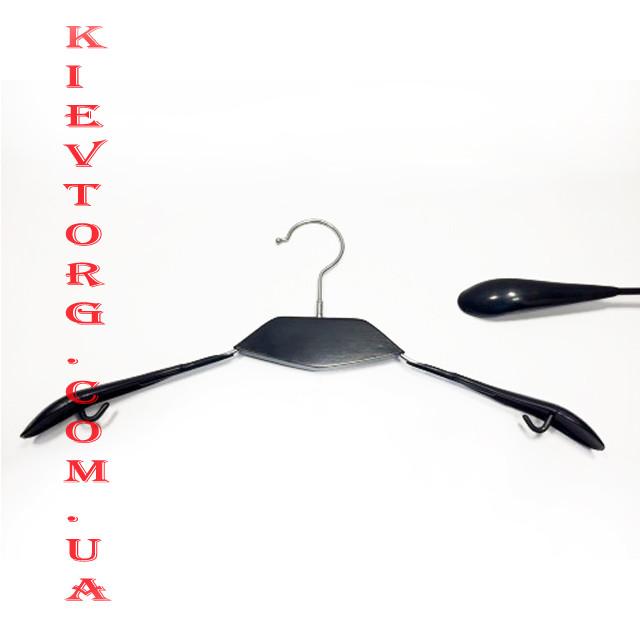 Плечики вешалки металлические силиконовые для одежды черные с деревянной вставкой, 42 см