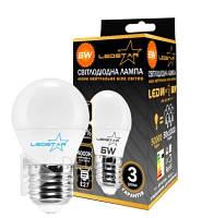 Светодиодная лампа Ledstar 6W, E27, 4000k, 540 Lm, матовая, шарообразная, эконом LED лампочка