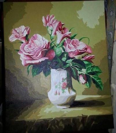 Картина по номерам MENGLEI Розы в вазе светлые (MG093) 5