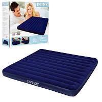 Велюровый надувной матрац  большой, в коробке (размеры 203-183-22 см) темно-синий