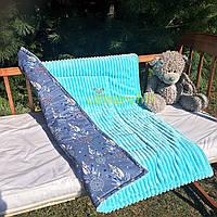 Плюшевый плед Minky с хлопковой подкладкой, голубой