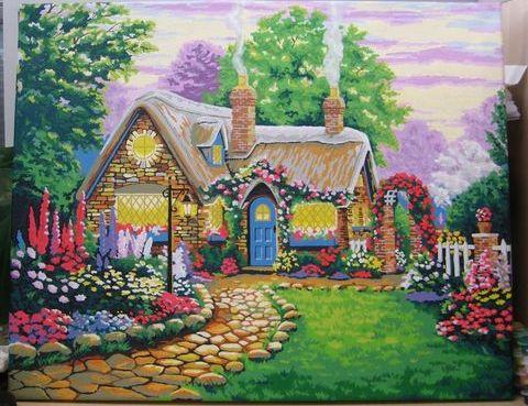 Картина по номерам MENGLEI Дом цветочной феи худ. Кинкейд Томас (MG300, MS336)