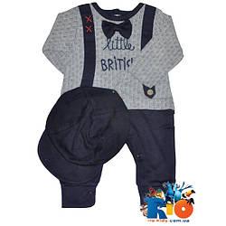 Детский комплект интерлок (человечек, кепка), для новорожденных 56-62-68 см (3 ед. в уп.)