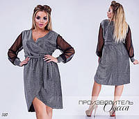 Платье вечернее глубокий вырез имитация на запах люрекс + евросетка  50-52,54- 5fa47b85683