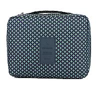 Органайзер-косметичка дорожная Gena Travel 21*16*8 см, ромбики на синем.