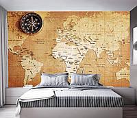 """3D фотообои """"Карта мира и компас"""""""