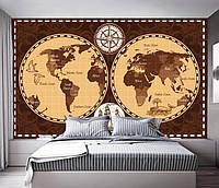 """3D фотообои """"Карта мира на полушариях"""""""
