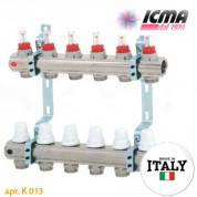 Коллектор системы *ТЕПЛЫЙ ПОЛ* ICMA арт. K013 с расходомерами 7 выходов