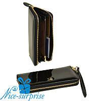 Женский кожаный кошелёк с ремешком Bretton W38 black (серия Gold), фото 1