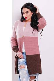 Кардиган женский вязаний с полосами трех цветов 132