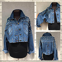 Куртка-Мом болеро джинсовая женская укороченная с жемчугом размер M-XL 5d6bcc36e1aee