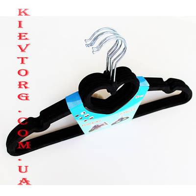 Плечики вешалки флокированные (бархатные, велюровые) черного цвета сердце, длина 420 мм