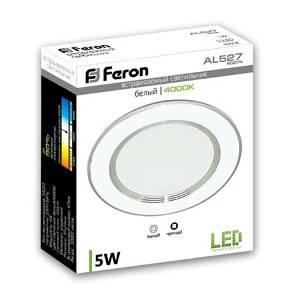 Светодиодная панель Feron AL 527 5W 4000K кругл. белый  Код.58117, фото 2