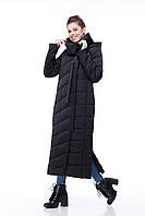 Черное очень длинное все размеры  зимнее пальто для сильных морозов теплое размеры от 44 до 54